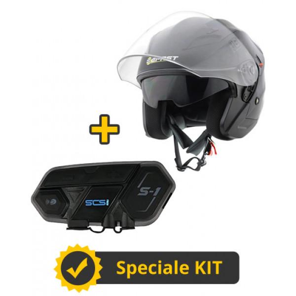 Kit Top J SCS - Casco jet Befast Top J nero lucido + Interfono Bluetooth singolo SCS S1