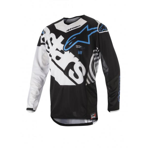 Maglia cross Alpinestars Techstar Venom nero bianco azzurro