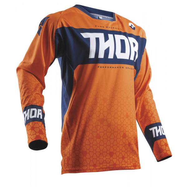 Maglia cross Thor S8 FUSE BION Rosso Arancio Blu