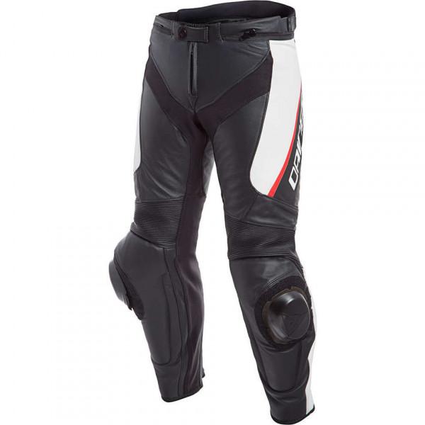 Pantaloni moto pelle racing Dainese DELTA 3 traforato Nero Bianco Rosso