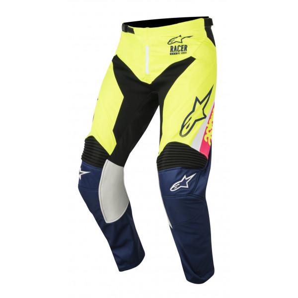 Pantaloni cross Alpinestars Racer Supermatic bianco blu scuro giallo
