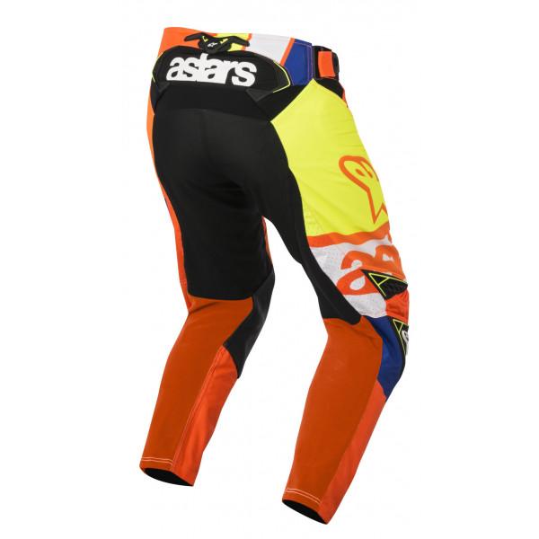 Pantaloni cross Alpinestars Techstar Factory arancio blu bianco giallo
