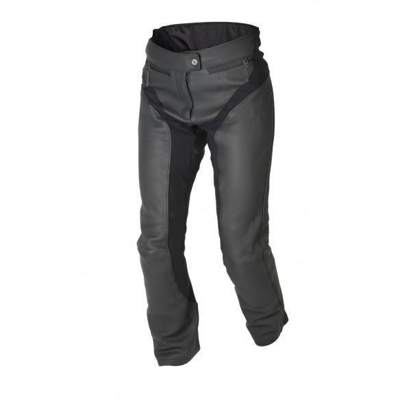 Pantaloni moto donna pelle estivi touring Macna Mantra nero