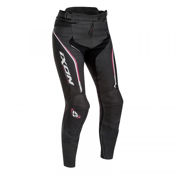 Pantaloni moto donna pelle Ixon TRINITY Nero Bianco Fucsia