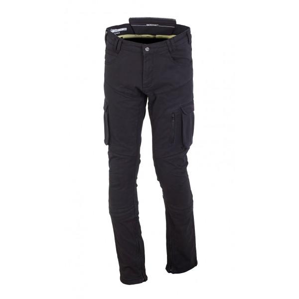 Pantaloni moto estivi Macna Transfer con rinforzi in Kevlar nero