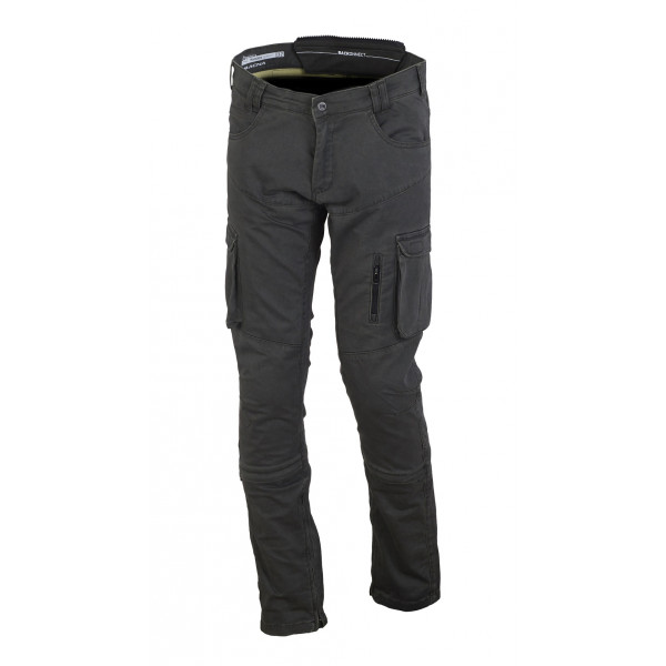 Pantaloni moto estivi Macna Transfer con rinforzi in Kevlar verde