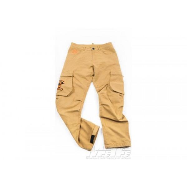 Pantaloni moto Motto FMJ con rinforzi in Kevlar kaki