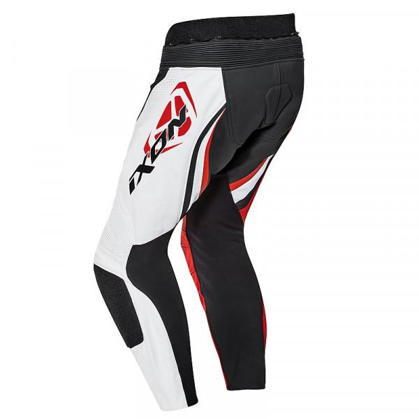 Pantaloni moto pelle estivi Ixon FALCON Bianco Nero Rosso
