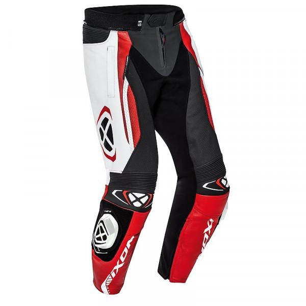 Pantaloni moto pelle estivi Ixon VORTEX 2 Nero Bianco Rosso