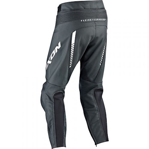 Pantaloni moto pelle Ixon FIGHTER nero bianco