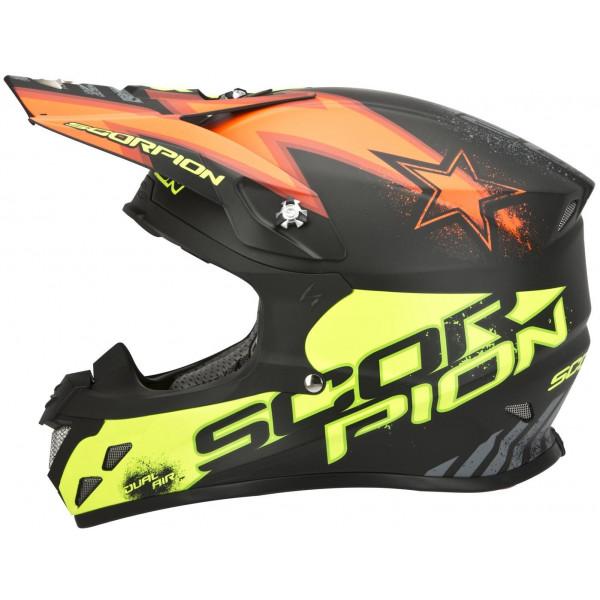 Casco cross Scorpion VX 20 Air Magnus Nero Arancio Giallo