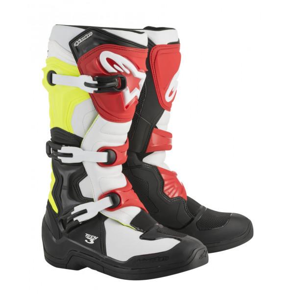Stivali cross Alpinestars Tech 3 nero bianco giallo fluo rosso