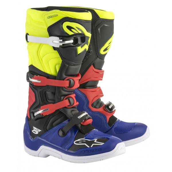 Stivali cross Alpinestars Tech 5 blu nero giallo fluo rosso