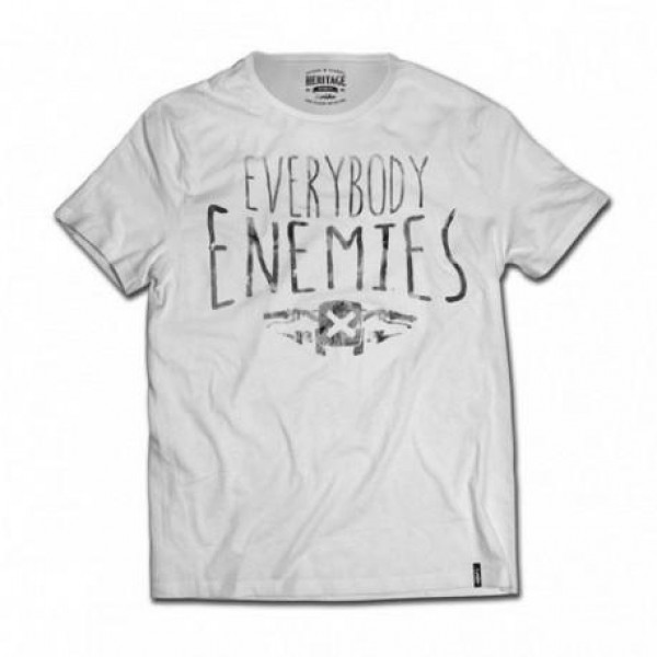 T-shirt Berider Everybody Enemies bianco