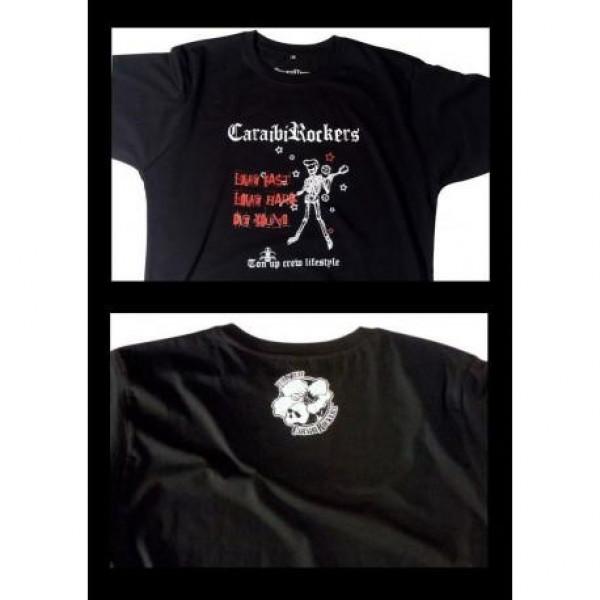 T-shirt CaraibiRockers Live Fast nero