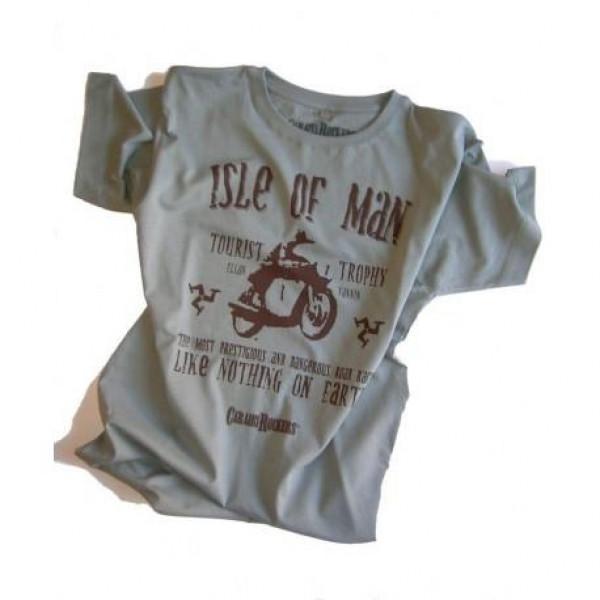 T-shirt CaraibiRockers Tourist Trophy Isle Of Man grigio marrone