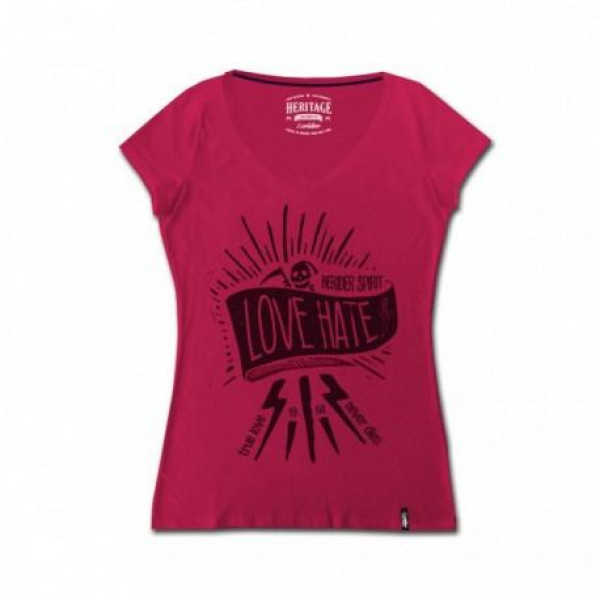 T-shirt donna Berider Love Hate rosa scuro