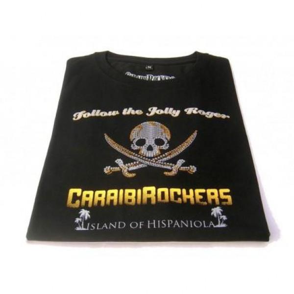 T-shirt donna CaraibiRockers Jolly Roger nero