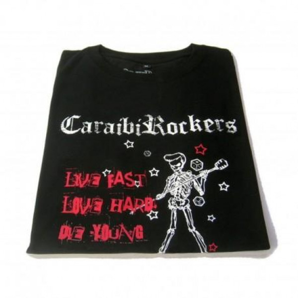 T-shirt donna CaraibiRockers Live Fast nero