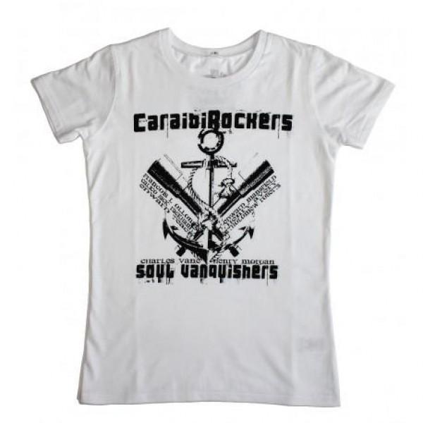 T-shirt donna CaraibiRockers Soul Vanquirish bianco