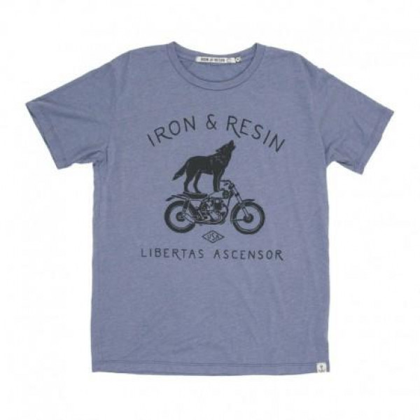 T-shirt Iron e Resin Howling blu slavato