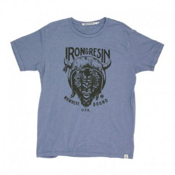 T-Shirt Iron e Resin Paso blu slavato