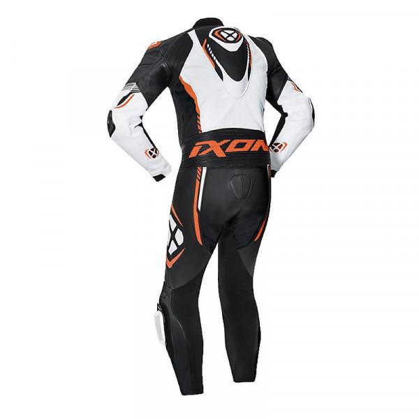 Tuta moto pelle estiva Ixon VORTEX 2 Nero Bianco Arancione