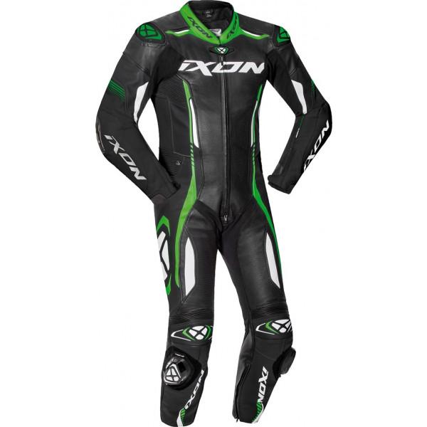 Tuta moto pelle estiva Ixon VORTEX 2 Nero Bianco Verde