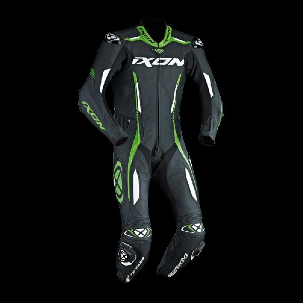 Tuta moto pelle racing Ixon VORTEX nero bianco verde