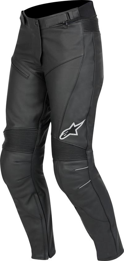 e9e39356e3b327 Pantaloni moto donna pelle Alpinestars Stella Bat neri