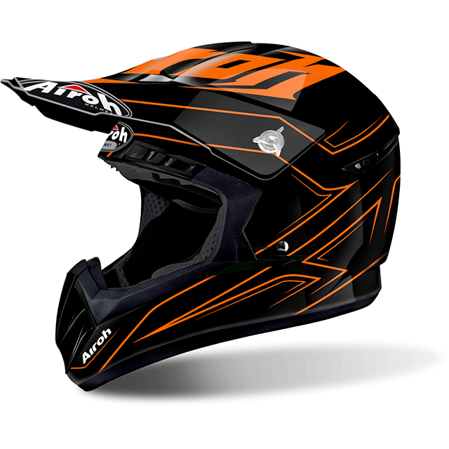 Casco cross Airoh Switch Spacer arancio lucido