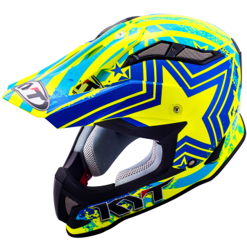 Casco cross KYT Strike Eagle Patriot in fibra blu giallo