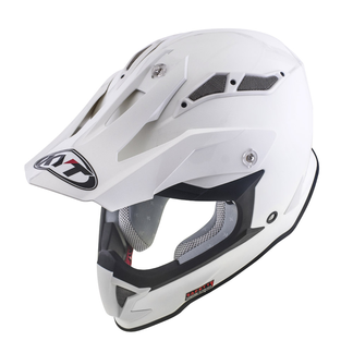 Casco cross KYT Strike Eagle Plain in fibra bianco