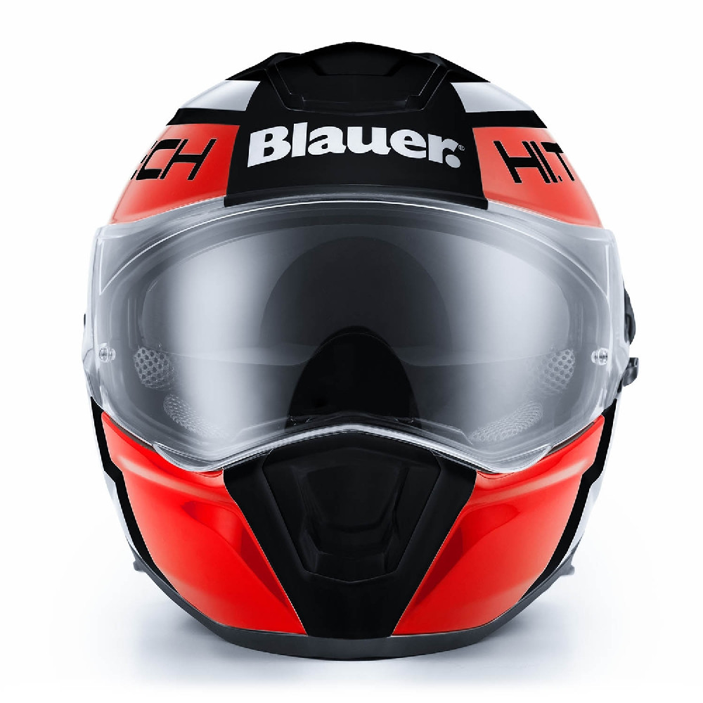 Casco integrale Blauer Force One 800 in fibra nero rosso bianco
