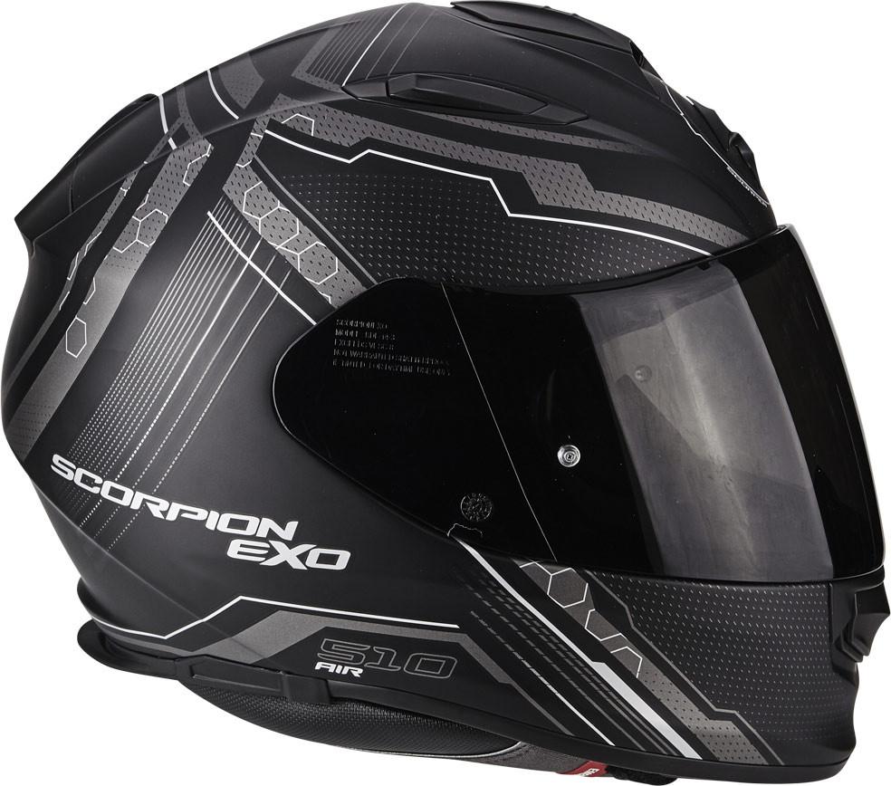 Casco Integrale EXO-510 AIR  SYNC Nero Opaco-Argento XS Scorpion