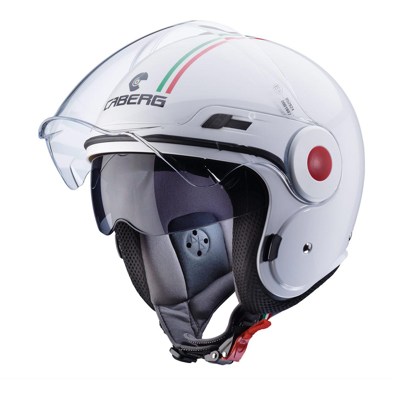 XL CASCO CABERG JET DOPPIA VISIERA SCOOTER MOTO UPTOWN ITALIA BIANCO TG