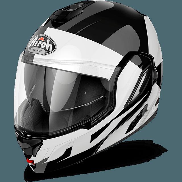 Casco modulare Airoh Rev Fusion bianco lucido mentoniera staccabile