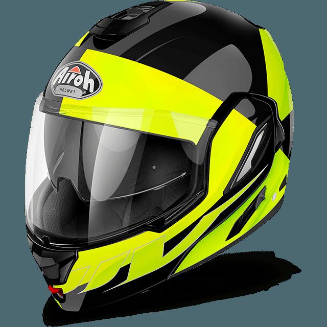 Casco modulare Airoh Rev Fusion giallo lucido mentoniera staccabile