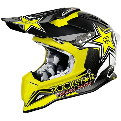 Casco moto cross Just 1 J12 Rockstar Energy Drink 2.0 in carbonio giallo e nero opaco