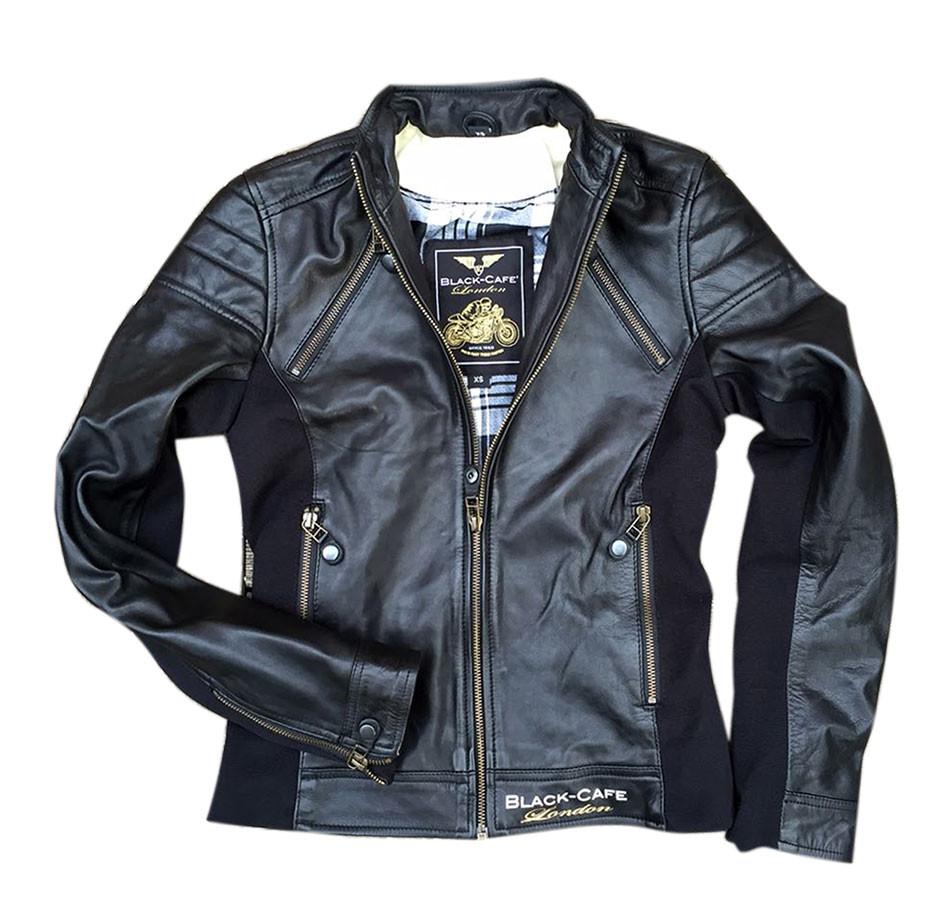 Nero London Lj10685 Black Donna Giacca Moto Cafè Pelle WnCAwPx0q1