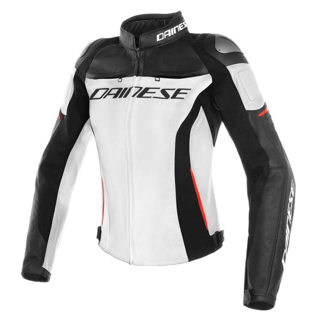 Giacca moto donna pelle racing Dainese RACING 3 LADY Bianco Nero Rosso 6d9b11cea02