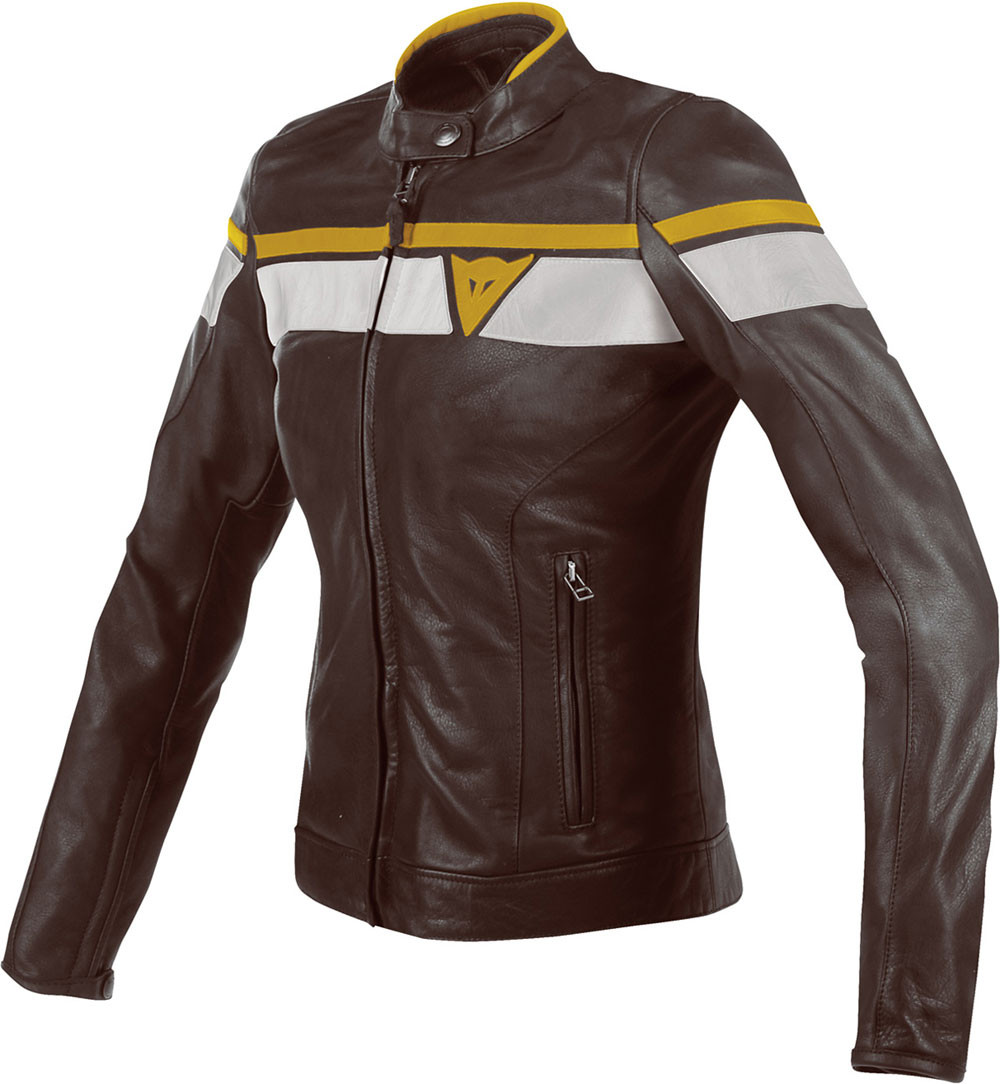 the best attitude 2c63f c79a9 Giacca moto pelle donna Dainese Blackjack Lady marrone scuro bianco oro