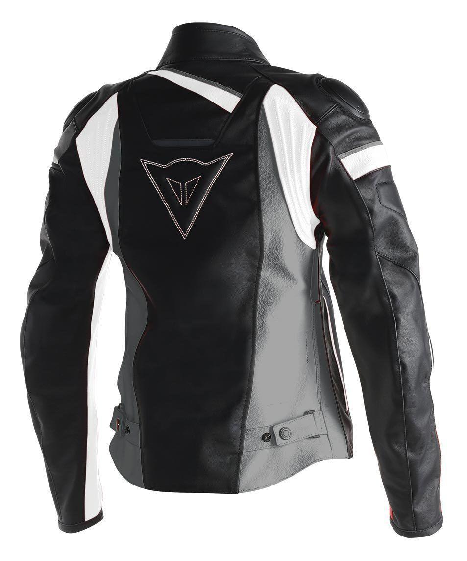 Giacca moto pelle donna Dainese Veloster Lady nero antracite bianco 75e38a5744f