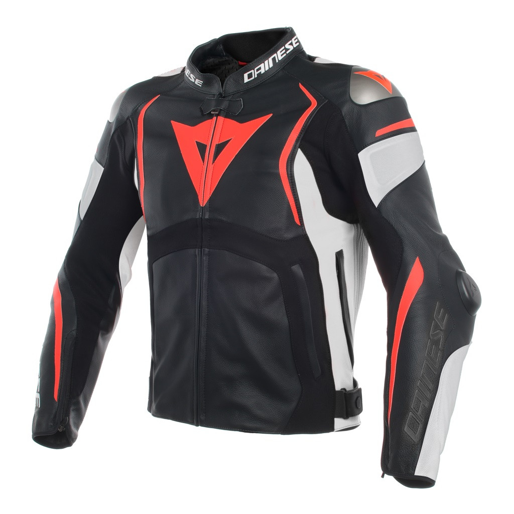 giacca moto pelle racing dainese mugello nero bianco rosso fluo.jpg a0139a1fc02