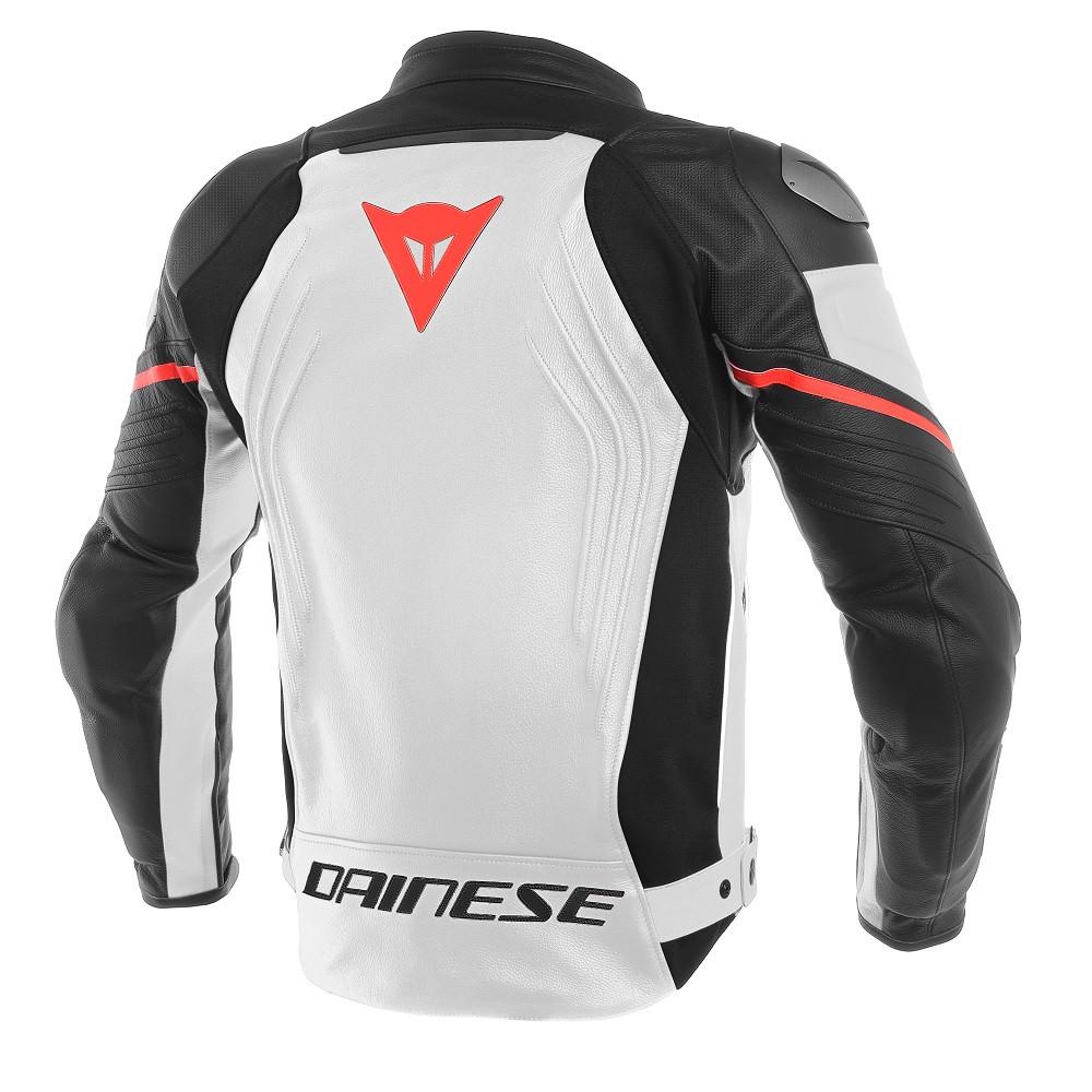 769949630782 Giacca moto pelle racing Dainese RACING 3 traforata Bianco Nero Rosso