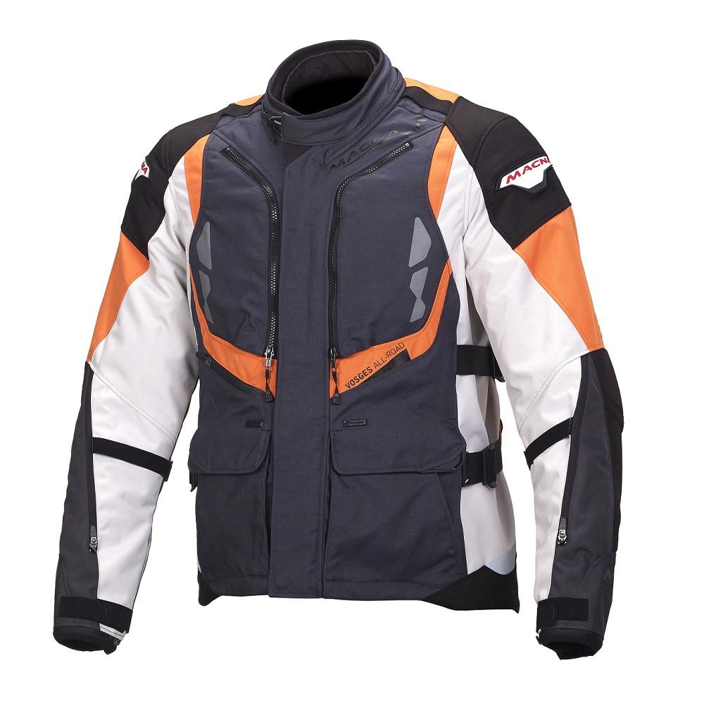 Giacca moto touring Macna Vosges WP 3 strati canna di fucile grigio chiaro nero arancio