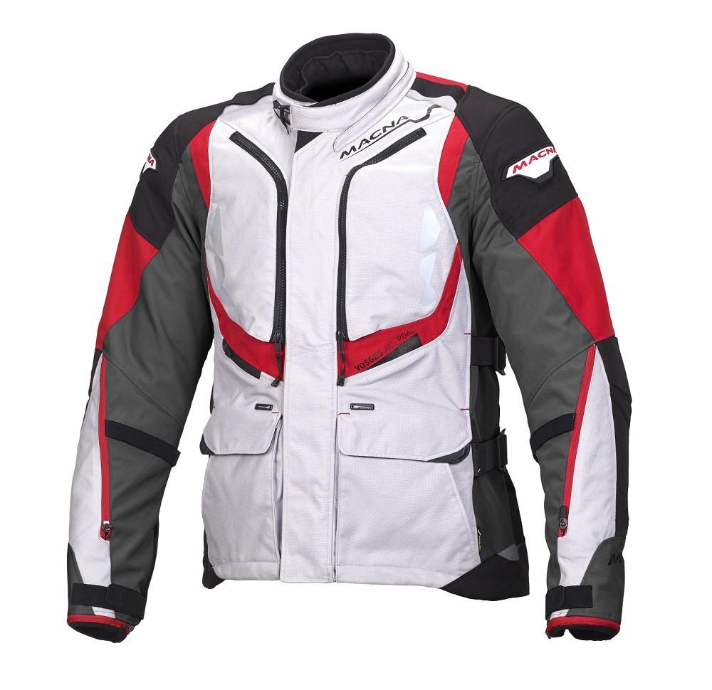 Giacca moto touring Macna Vosges WP 3 strati grigio chiaro nero canna di fucile rosso