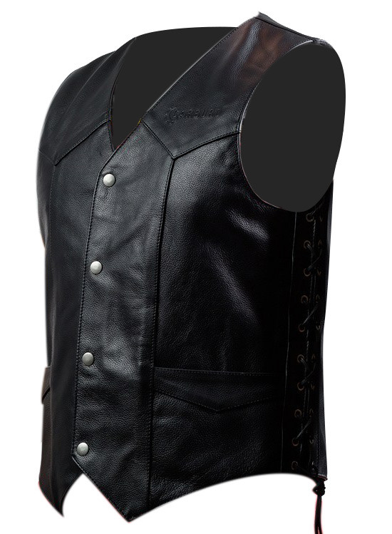 first rate 49ebb 27296 Gilet moto pelle Carburo Camelot Nero