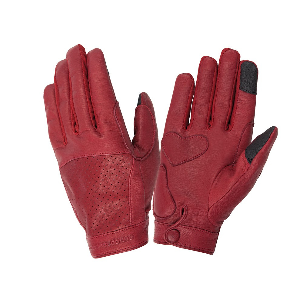 Guanti moto donna estivi pelle Tucano Urbano Lady Dot Touch Biking Red