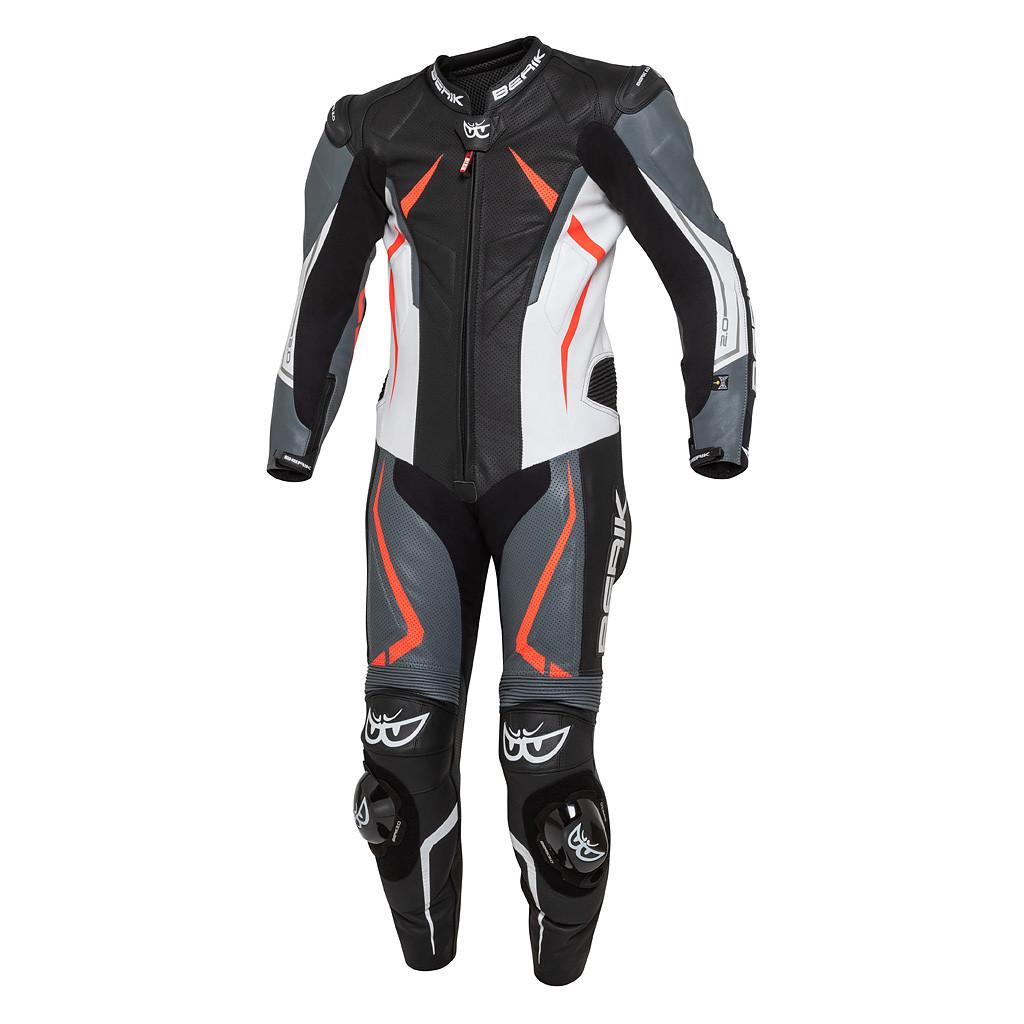 Tuta pelle racing intera Berik RUSH X con protezioni spalle in alluminio Nero Grigio Bianco